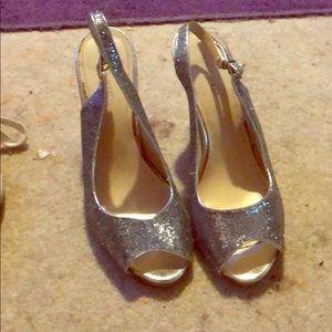 Silver sparky heels Nine West